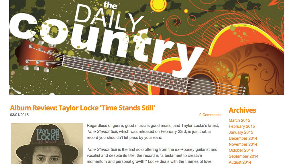 Album Review: Taylor Locke Time Stands Still in The Daily Country