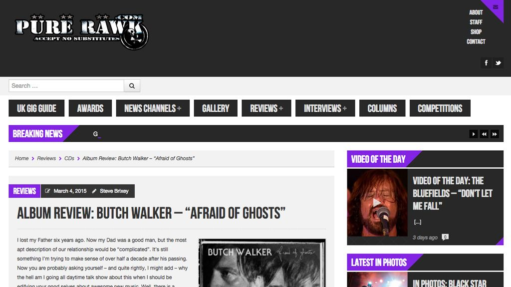 Pure Rawk Butch Walker Afraid of Ghosts Review