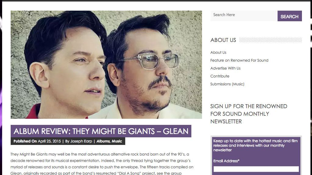 They Might Be Giants Glean in Renowned for Sound