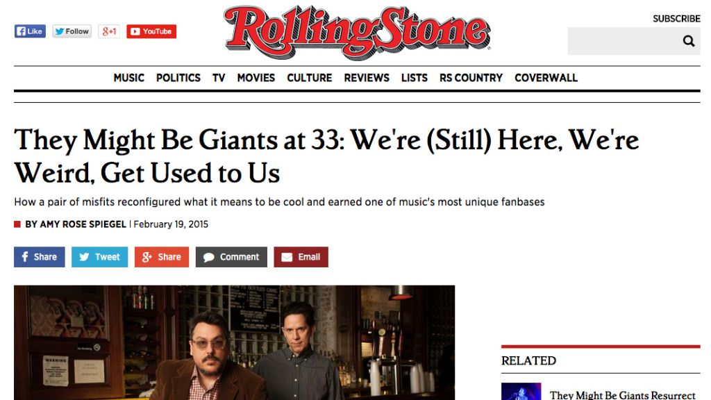 They Might Be Giants in Rolling Stone