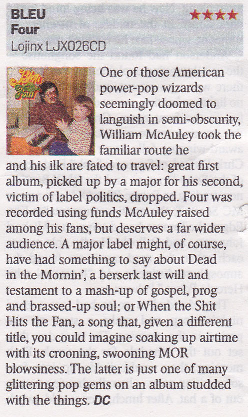 "Bleu ""Four"" reviewed in the Sunday Times"
