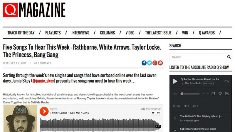 Taylor Locke featured in Q Magazine's Five Songs To Hear This Week