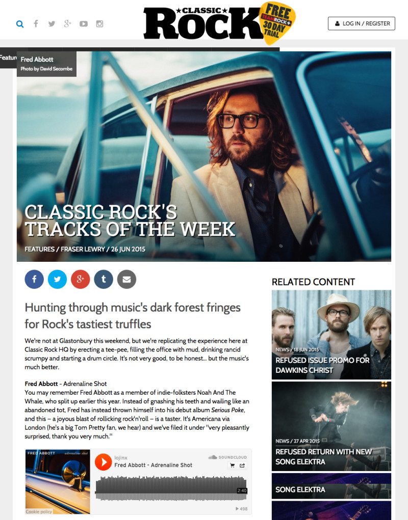 Fred Abbott is Classic Rock Magazine Track Of The Week