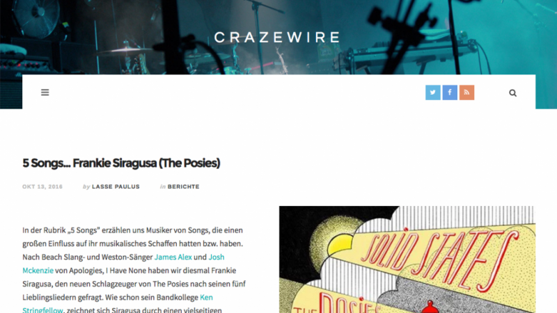 5 Songs… Frankie Siragusa of The Posies, in Crazewire