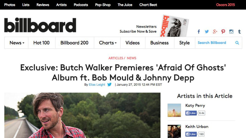 Exclusive Album Stream: Butch Walker Premieres 'Afraid Of Ghosts' ft. Bob Mould & Johnny Depp