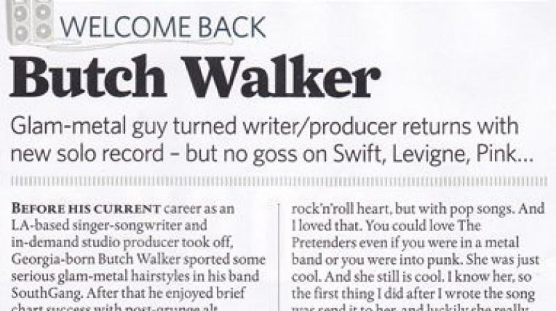 Butch Walker feature in Classic Rock Magazine