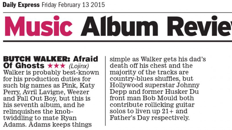 Review: Butch Walker Afraid Of Ghosts in the Daily Express