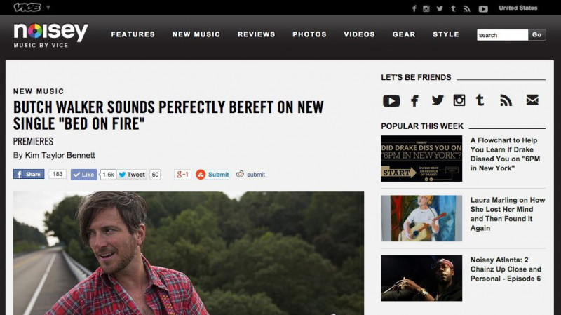 "Butch Walker Sounds Perfectly Bereft on New Single ""Bed on Fire"" in Noisey"