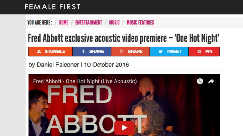 Fred Abbott's new video is premiering now on Female First