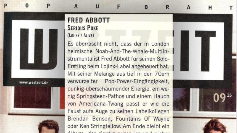 Fred Abbott in Westzeit Magazine