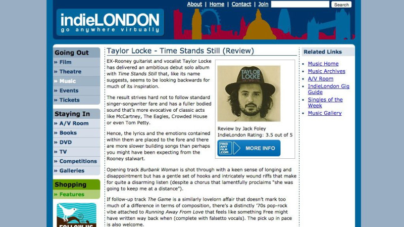 Review: Taylor Locke – Time Stands Still in Indie London