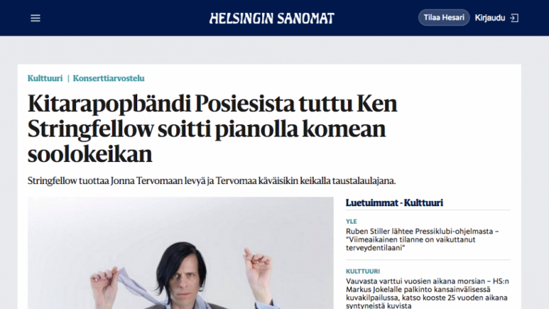 Review of Ken Stringfellow in Finland