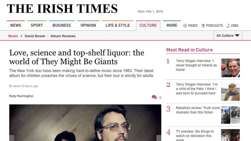 Love, science and top-shelf liquor: the world of They Might Be Giants in The Irish Times