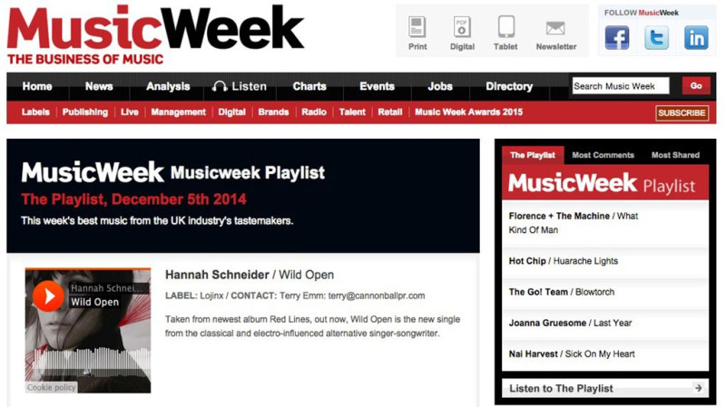 Hannah Schneider on the MusicWeek Playlist