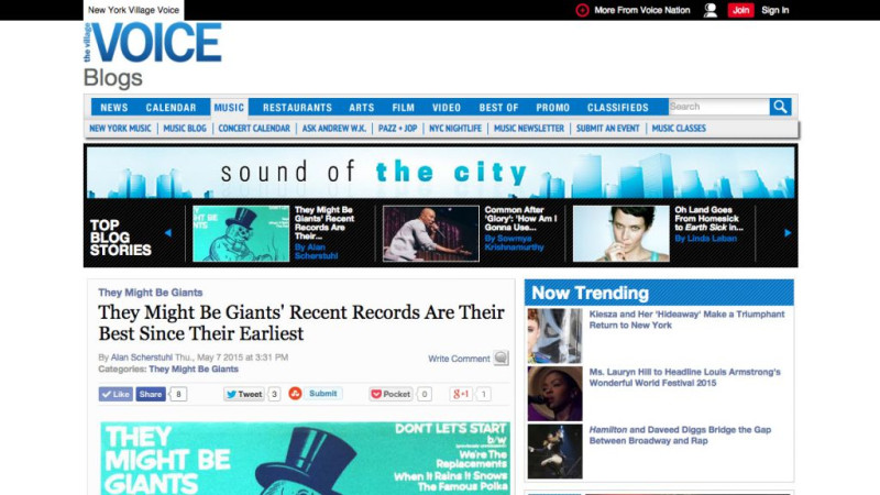 Village Voice: They Might Be Giants' Recent Records Are Their Best Since Their Earliest