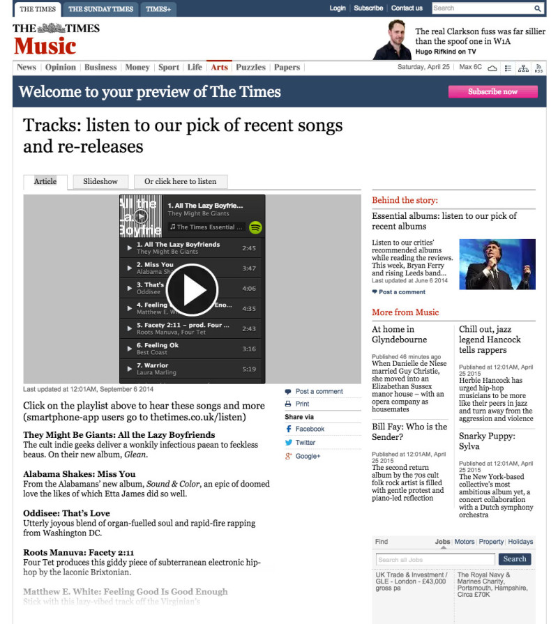 They Might Be Giants in The Times