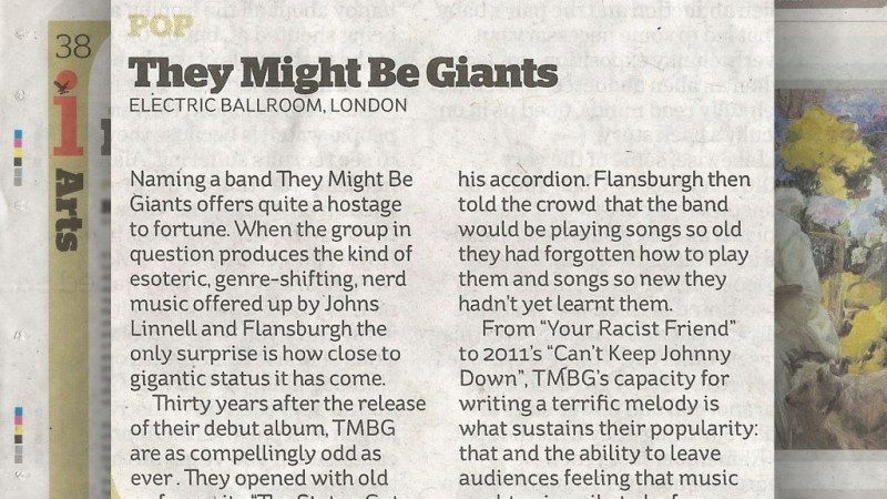 They Might Be Giants reviewed in the I