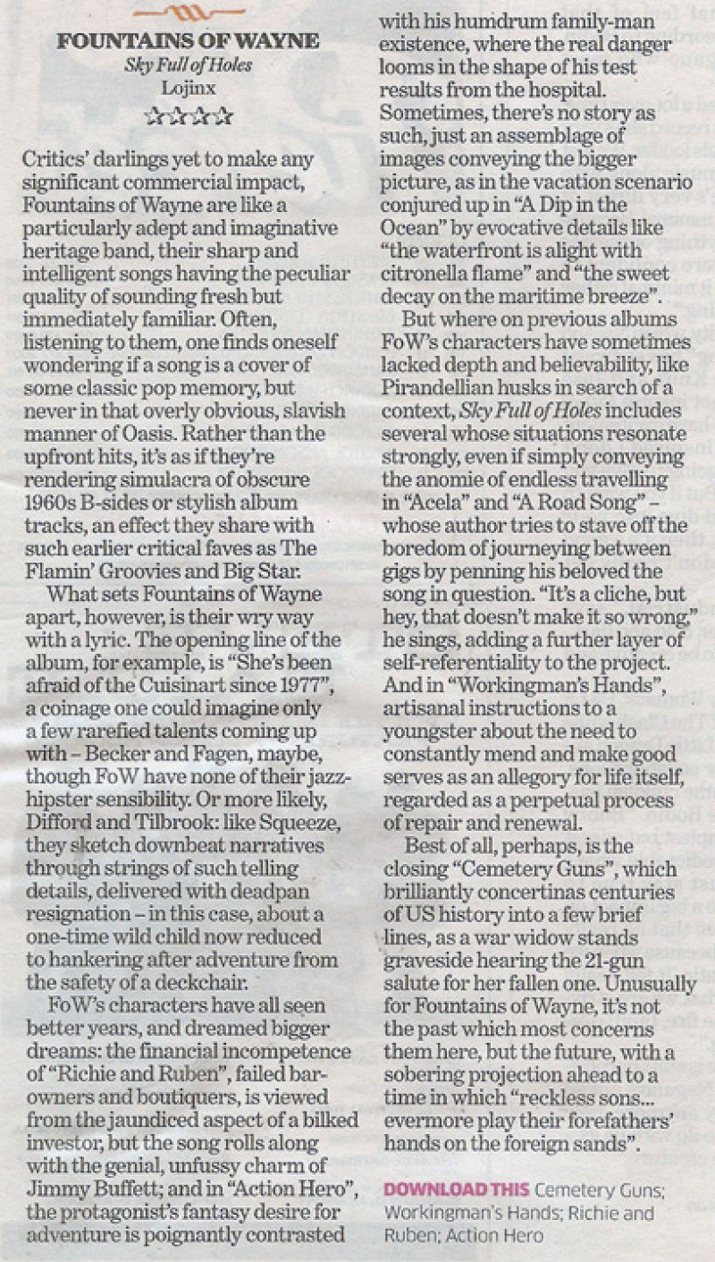 Fountains Of Wayne review in The Independent