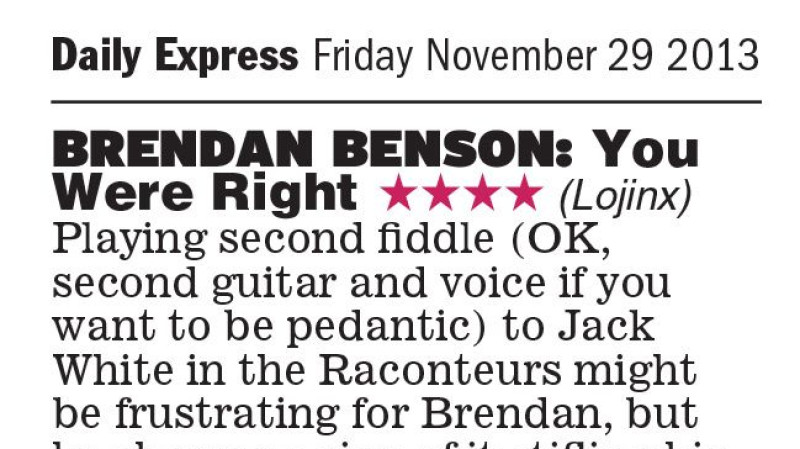 Brendan Benson reviewed in the Daily Express